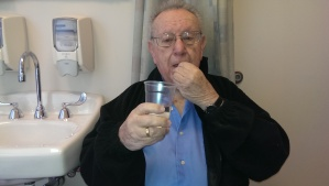 "My father taking pill 9 of 15 on day 1 of his ""procedure""."